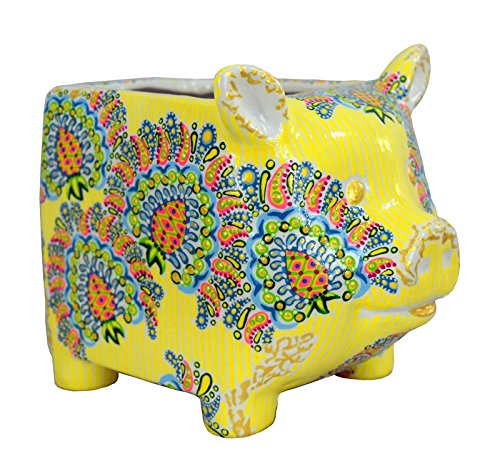 Cute Pig Planter Flower Pot Decor Hand Painted for Indoor Plant Garden Nursery by Vesonder Roads