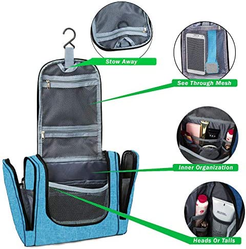 Bago Hanging Toiletry Bag For Women & Men - Leak Proof Travel Bags for Toiletries with Hanging Hook & Inner Organization to Keep Items From Moving - Pack Like a PRO (Snow Blue)