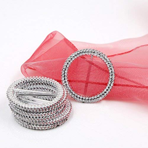 (Basong 50 Pcs 53 mm Round Silver Tone Acrylic Rhinestone Buckle Chair Sash Ribbon Slider …)