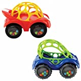 Oball Rattle and Roll Cars: Set of 2, Red and Blue