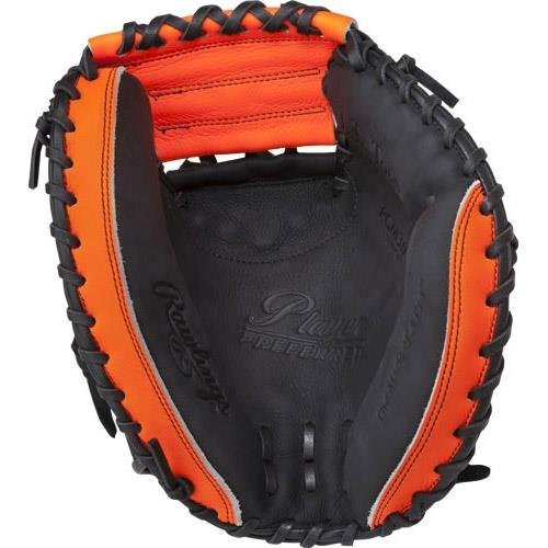 Rawlings Player Preferred Baseball Target Catcher's Mitt, Regular, 1-Piece Solid Web, 33 Inch (Orange And Black Baseball Gloves)