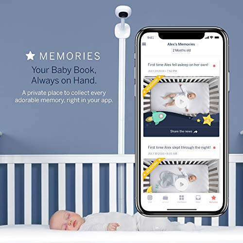 Nanit Plus - Smart Baby Monitor and Wall Mount: Camera with HD Video & Audio - Sleep Tracking - Night Vision - Temperature & Humidity Sensors and Two-Way Audio    The HD Nanit Plus baby monitor offers everything you need to monitor and track your baby, their sleep, and their breathing motion with a crystal-clear overhead view. The Nanit Plus camera sees everything happening in and around the crib, with stunning clarity. Nanit specializes in helping you help your baby sleep better by providing personalized sleep tracking, analytics and guidance right in your Nanit app. The wall mount positions Nanit securely behind and above your baby's crib, mounted directly to your wall.