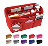 Vercord Felt Handbag Insert Organizer Purse Pocketbook Tote Bag Liner Shaper Inside Red Xlarge
