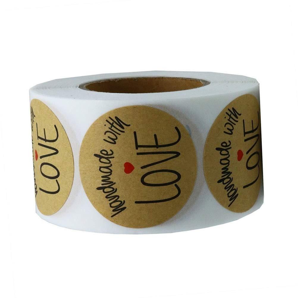 BESTOYARD Pegatina de Regalo de Cumplea/ños Etiqueta Adhesiva Redonda de Papel Decoraci/ón Cajas Regalos de Fiesta Ano Fista de Boda Hand Made with Love 500 Piezas