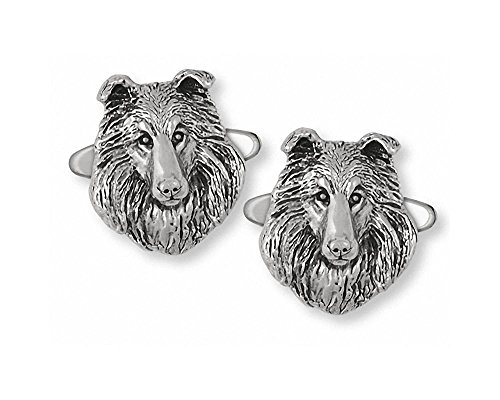Collie Jewelry Sterling Silver Collie Cufflinks Handmade Dog Jewelry COL2-CL