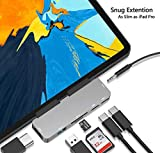 USB C Hub for iPad Pro 11 12.9 2019 2018 Adapter - 7-in-1 Dongle with Aux 3.5mm & Type-C Earphone Headphone Data Jack with Audio Volume Control - 4K HDMI - USB 3.0 - SD - Micro SD Card Reader - USB C PD Charging