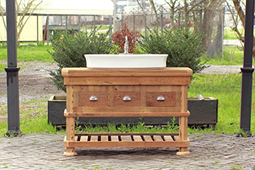 "Craftsman Style 54"" Reclaimed Wood Kitchen Island Barn Wood Bath Vessel Farm Sink Package"