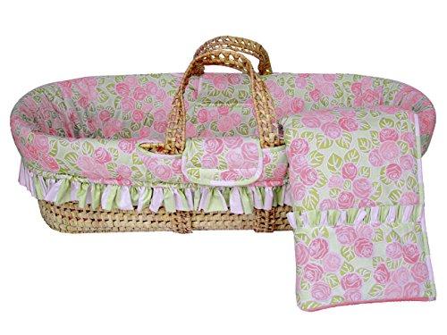 Bacati Flower Moses Basket, Pink/Green (Bacati Flower Basket)