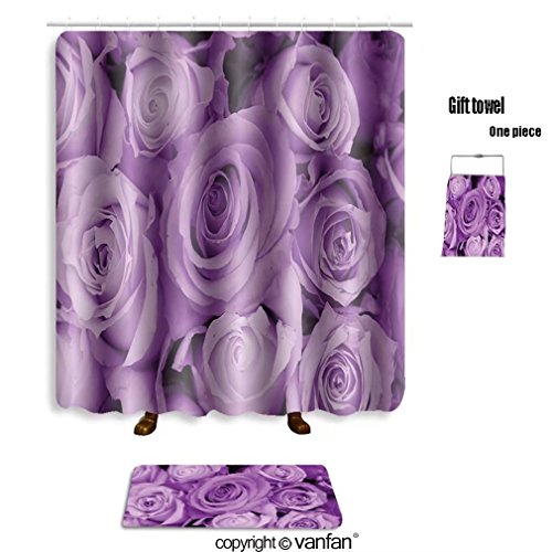 vanfan bath sets with Polyester rugs and shower curtain purple roses in a wedding arrangement 4328063 shower curtains sets bathroom 69 x 84 inches&31.5 x 19.7 inches(Free 1 towel and 12 hooks)
