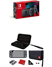 Nintendo Switch Konsole - Grau (neue Edition) + Nintendo Switch Essentials Kit - Switch Edition