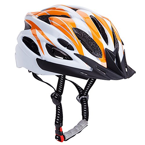 Bormart Adult Cycling Bike Helmet,Lightweight Adjustable Bicycle Helmet Specialized for Men Women Mountain Bicycle Road Safety Protection (orange+white) For Sale