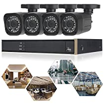 ELEOPTION 5 in 1 Security Camera System 4CH 1080N DVR Recorder Video and 4X 720P Surveillance Camera Waterproof Security Surveillance with App Control Night Vision Motion (K3042HV-Black)