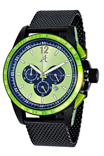 Adee Kaye AK7141 Men's Sporty Chronograph Watch w/Anti Reflection Crystal-IP Black tone/Green