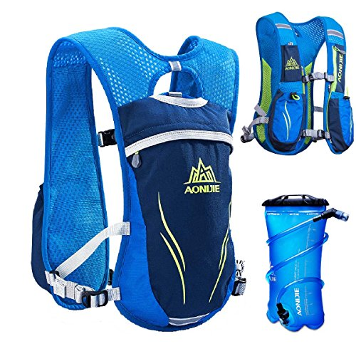 TRIWONDER Hydration Pack Backpack 5.5L Outdoors Mochilas Trail Marathoner Running Race Hydration Vest (Blue - with 2L TPU Water Bladder)
