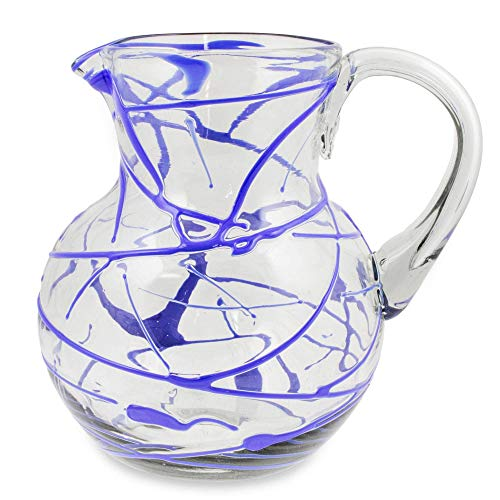 NOVICA Hand Blown Glass Pitcher, Sapphire Swirl', 84 oz, Blue