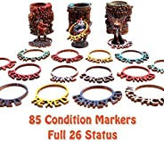 Dungeon & Dragons Condition Markers DND Status Rings for Miniatures, Byhoo 85 Pcs Color Coded Tabletop Gam