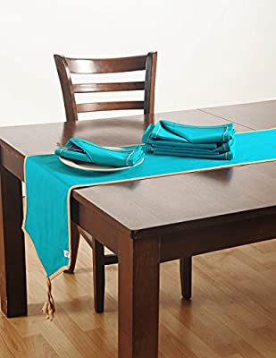 Aqua Blue Table Linens Set with 4 Dinner Napkins And Table Runner - Cotton Duck Fabric - Machine Washable