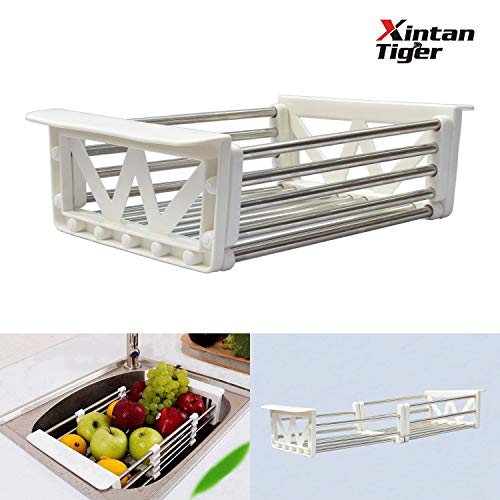 Xintan Tiger Tableware Drying Rack Telescopic Stainless Steel Drain Basket Dish Racks Wash Vegetable Fruits Hanging Basket Tableware Dry Rack by Xintan Tiger