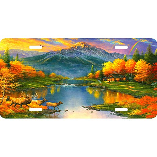 Mountain Retreat Autumn Orange Nature Custom Personalized Aluminum Front License Plates, Decorative Car Metal Tag Sign for US Vehicles, 12 x 6 ()