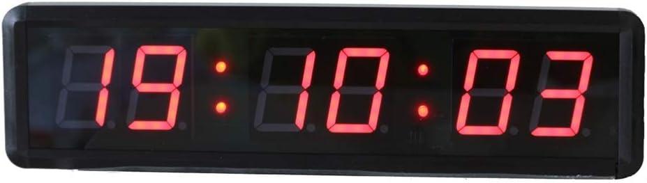 LEDインターバルタイマー フィットネストレーニングタイマーカウントダウン/アップタイマーリモートコントロール1.8インチLEDデジタルスポーツタイミングクロック リモートおよびボタン付きタイマー (色 : ブラック, サイズ : 34X9X3.5CM) ブラック 34X9X3.5CM