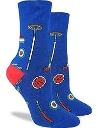 Good Luck Sock Women's Curling Crew Socks - Blue, Adult Shoe Size 5-9