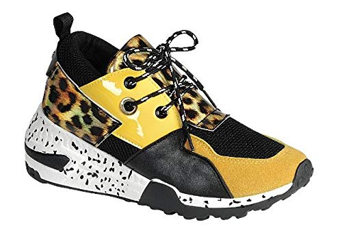 (LuxeFootwear Too Fabulous for The Gym Women's Fashion Forever Hybrid Sneakers Color Lace Up Fashion Cliff Kicks Standout (Yellow Leopard, 7.5))