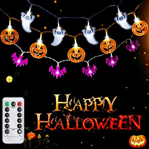 SYIHLON Halloween String Lights,8 Modes LED Fairy String Light with Remote Control&Timer,IP65 Waterproof Battery Operated String Lights for Halloween, Christmas, Bar, Patio, Indoor and Outdoor Decor