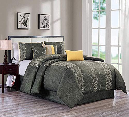 - Royal Hotel Audri Dark Gray and Silver Queen Size Luxury 7 Piece Comforter Set Includes Comforter, Skirt, Throw Pillows, Pillow Shams