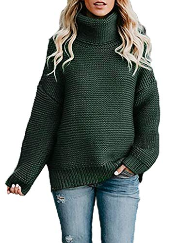 Asvivid Chunky Turtle Cowl Neck Pullover Sweater for Womens Cozy Lightweight Cable Knit Warm Winter Sweater M Green109