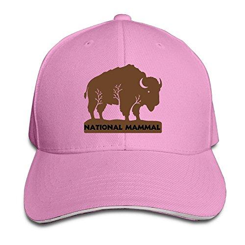 US National Animal Bison Men Women Sandwich Cap Pink (Plain Leash 8)