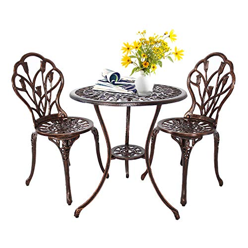 HOMEFUN Bistro Table Set, Outdoor Patio Set 3 Piece Table and Chairs, Tulip Carving and Weather Resistant (Antique Bronze) (Bistro And Table Cheap Chairs)