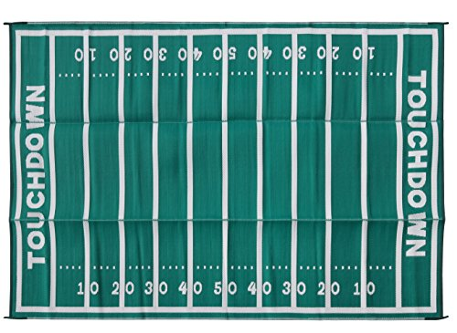 Camco American Football Field Design Large Outdoor/Patio Rug Perfect for Camping Hiking, Rving, and Tailgating- Reversible and Mildew Resistant (42861)
