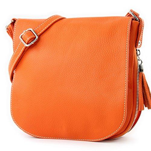 Orange cuir de Sac T06 en Messenger bandoulière à Ital modamoda qSfxFwv6q