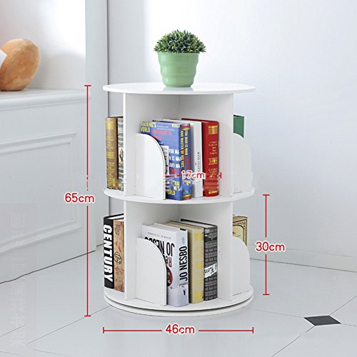 JX&BOOS Bookshelf,Creative 360°Rotating Bookcase Simple disassembly Bookshelves Simple Student Landing Rack -White 46x46x65cm(18x18x26) (Wide Bookcase 26)