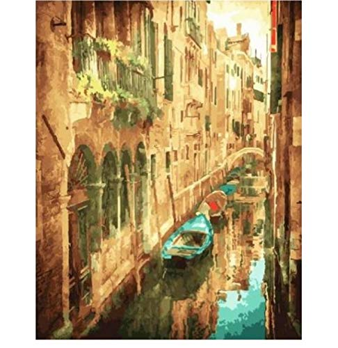 CYKEJISD Venice Canal in The Morning DIY Painting by Numbers Acrylic Paint On Canvas Modern Wall Art Picture Coloring