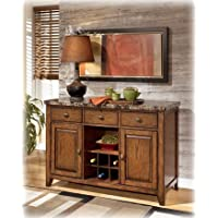 Lacey D328-60 50'' Dining Room Server with Faux Marble Tabletop Build-in Wine Rack and Three Smooth Gliding Drawers