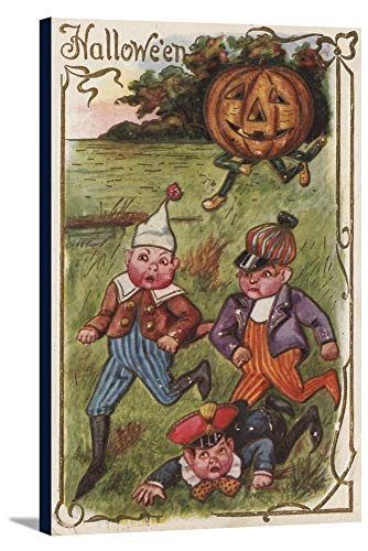 Halloween Greeting - Boys Running From Pumpkin Man in Field (23x36 Gallery Wrapped Stretched Canvas)]()