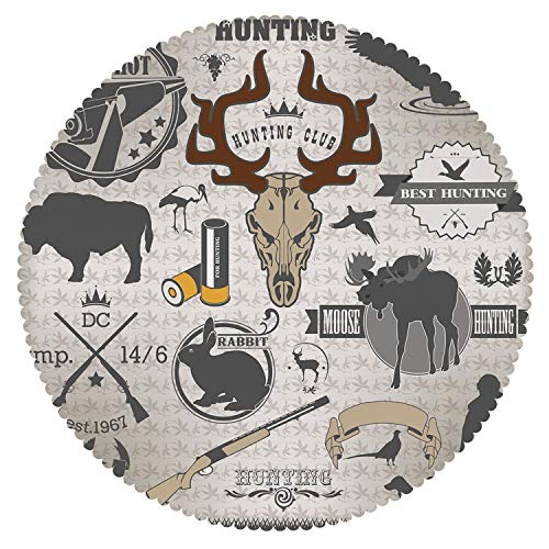 iPrint Beautiful Round Tablecloth [ Hunting Decor,Wildlife Theme Vintage Graphic Labels Weapons Ammunition Moose Elk Rabbit Decorative,Multicolor ] Home Accessories Set ()