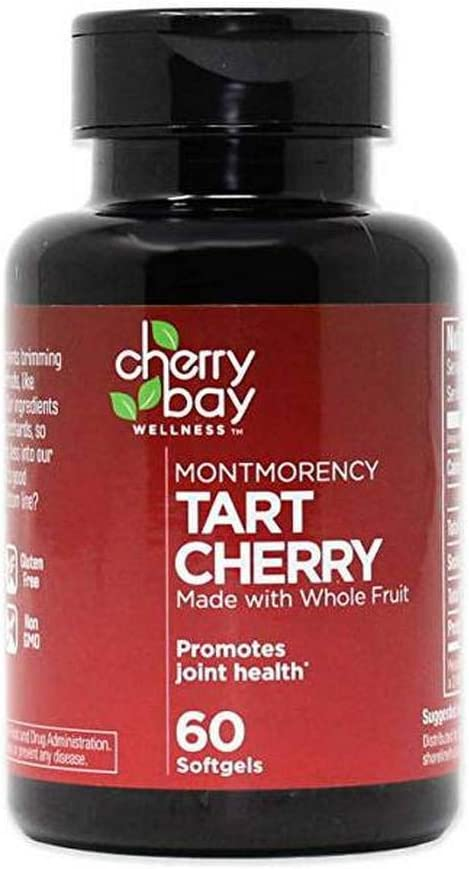 Montmorency Tart Cherry Softgels 60 Count Bottle Non-GMO Gluten Free Helps to Support Joint Health