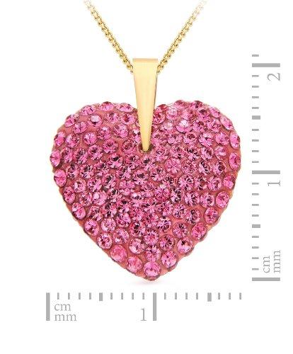 Carissima Gold - Collier Femme avec pendentif - Coeur - Or Jaune 375/1000 (9 Cts) 2.1 Gr - Cristal