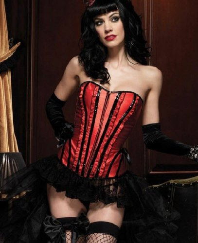 [Leg Avenue Women's Betty Corset, Red, Large] (Wonder Woman Red Corset)