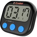iCooker Digital Kitchen Timer [Magnetic Back] Premium Quality Large LCD Digital Cooking and Baking Count-Down Up For Kitchen Classroom Sports Activities Best Counter Loud Alarm Black [Large Display]