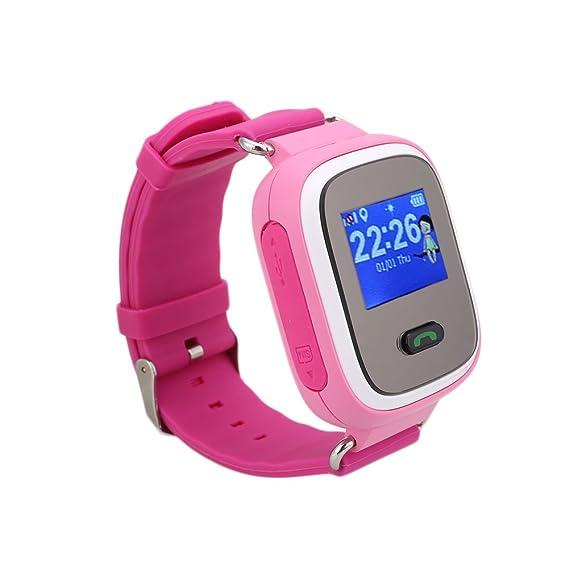 Rosepoem Rastreador GPS de los niños SmartWatch Reloj inteligente para Niños Anti-Perdida Sos tarjeta SIM de reloj Control de Padres Por Smartphone ...