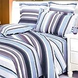 Blancho Bedding - [Blue Purple Stripes] 100% Cotton 4PC Duvet Cover Set (Queen Size)