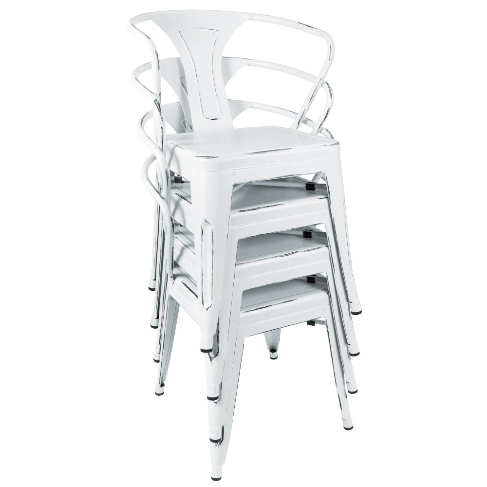 furmax metal chairs with arms distressed style dream white indoor