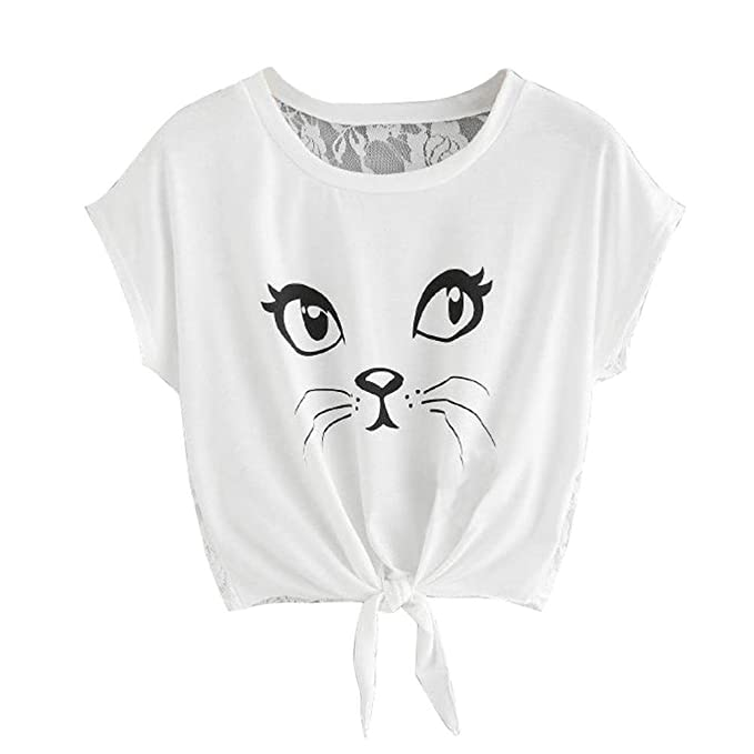 Tops mujer,❤️Ba Zha Hei Tops de encaje con estampado de gato de mujer Cuello de Las Mujeres Cuello Impreso Cuerno Manga Culo Tops blusa sexy mujer ...