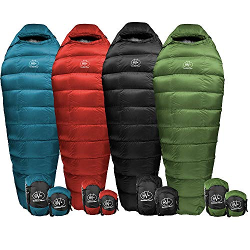 Outdoor Vitals Summit 0°F - 20°-30°F Down Sleeping Bag, 800 Fill Power, Mummy, Ultralight, Camping, Hiking (Inch Socks 35 Tube)