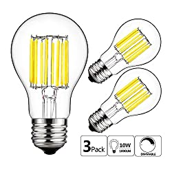 Gezee 10w Edison Style Vintage Led Filament Light Bulb, 100w Incandescent Replacement,daylight White 6000k,1000lm, E26 Medium Base Lamp, A19(a60) Antique Shape, Clear Glass Cover,dimmable(3 Pack)