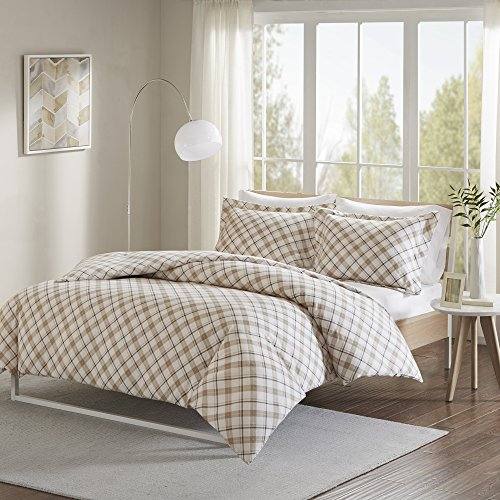 Comfort Spaces - Ultra Soft 100% Cotton Plaid Flannel Mini Duvet Cover Set - 3 Piece - Tan - King Size, Includes 1 Duvet Cover, 2 (Flannel Mini Comforter Set)