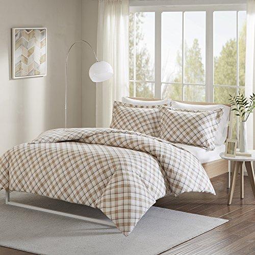 Cover Tan Flannel (Comfort Spaces - Ultra Soft 100% Cotton Plaid Flannel Mini Duvet Cover Set - 3 Piece - Tan - King Size, Includes 1 Duvet Cover, 2 Shams)